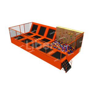 Liben TUV Proved Commercial Indoor Trampoline Park String Bed Trampoline with Cage